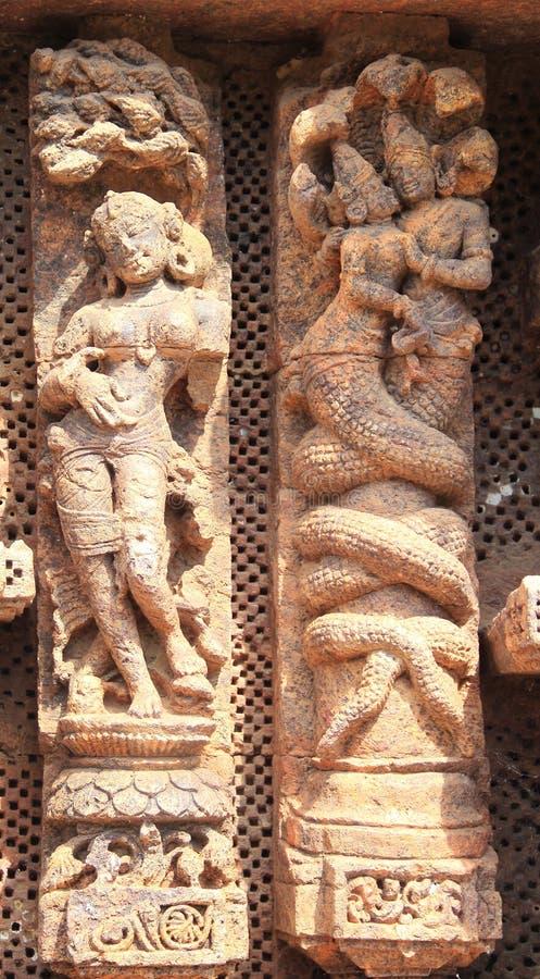 Het steenwerk in Konark tempel-29 stock foto's