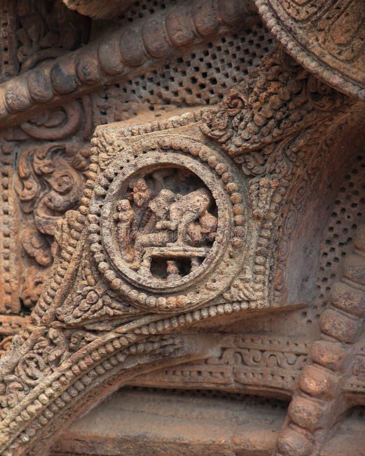 Het steenwerk in Konark tempel-30 stock afbeeldingen