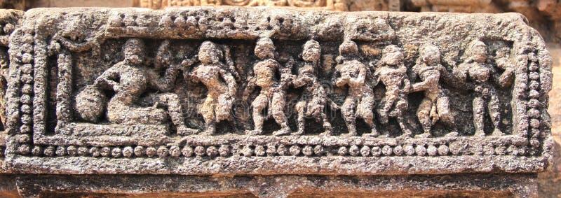 Het steenwerk in Konark tempel-31 stock foto's