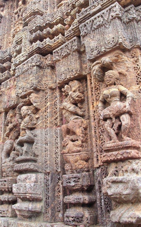 Het steenwerk in Konark tempel-37 stock fotografie
