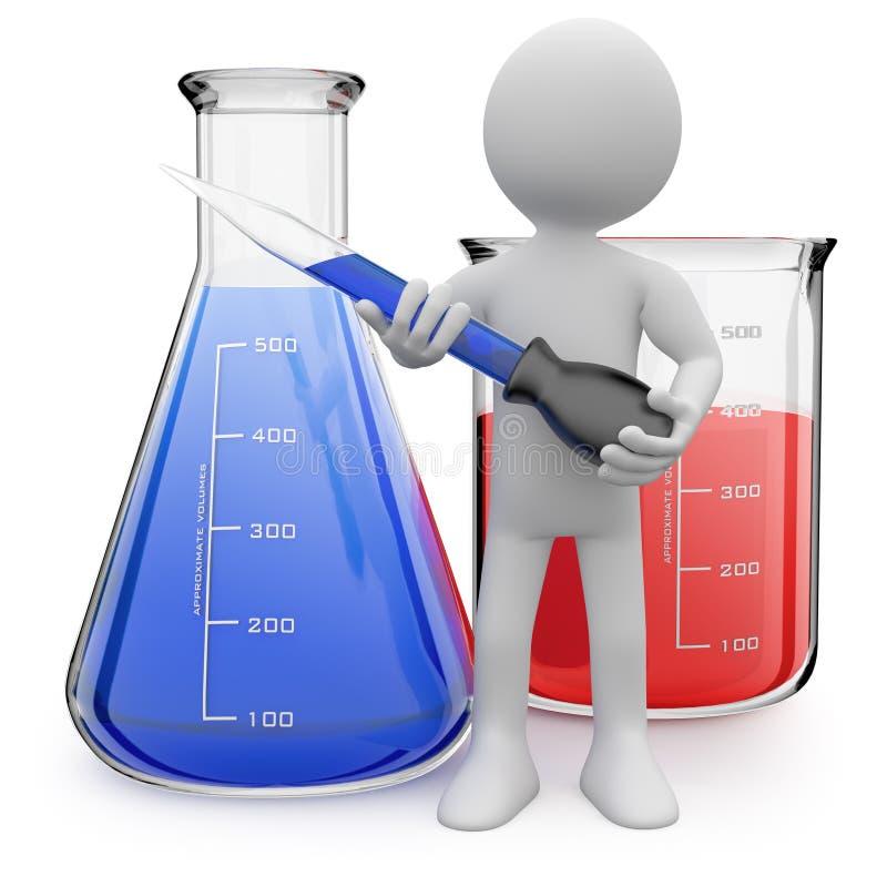 Het stellen van de chemicus met reageerbuizen vector illustratie