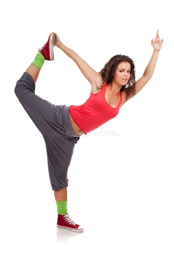 Het stellen van de danser als een ballerina stock foto's