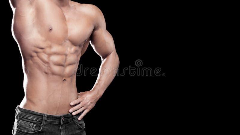 Het sterke Atletische Mensen spierlichaam, torso zes pakkenabs, perfecte mannelijke buikspieren sluit omhoog sport, het bodybuild stock foto