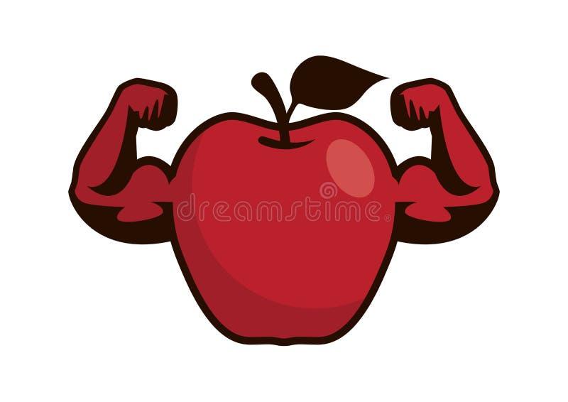 Het sterke rode karakter van het appelbeeldverhaal vector illustratie