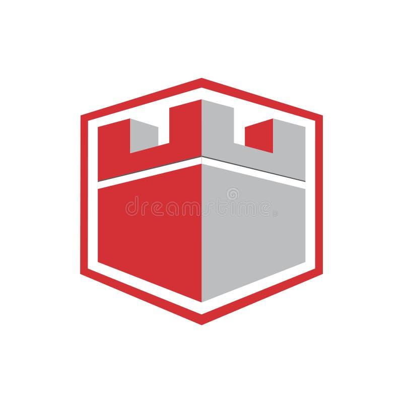 Het sterke Schild Hexagon Logo Icon Template van het Kasteelfort royalty-vrije illustratie