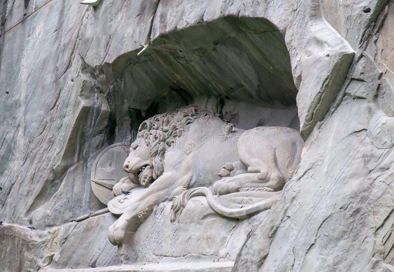Het sterven leeuwmonument in Luzerne, het Beroemde oriëntatiepunt van Zwitserland royalty-vrije stock afbeelding