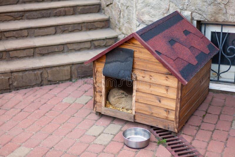 Het stevige houten die hondehok van Nice zonder een hond dicht bij het huis wordt geregeld royalty-vrije stock foto