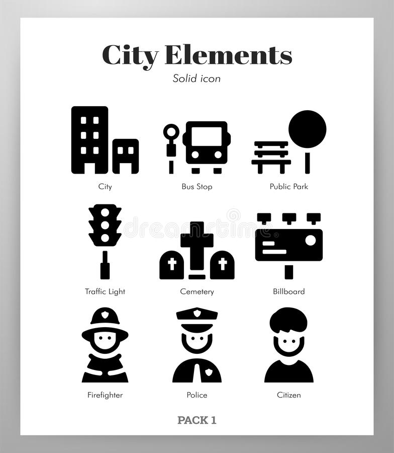 Het Stevige pak van stadselementen royalty-vrije illustratie