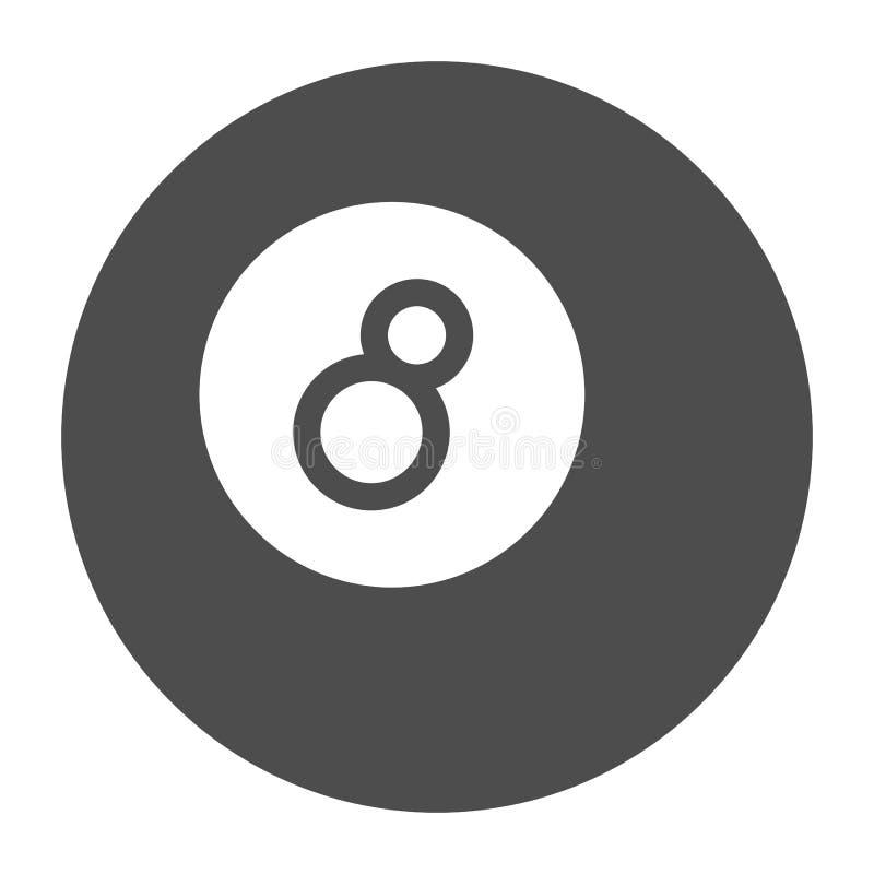 Het stevige pictogram van de biljartbal De vectordieillustratie van de poolbal op wit wordt ge?soleerd Het ontwerp van de spel gl stock illustratie