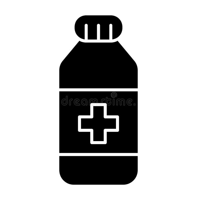 Het stevige pictogram van de geneeskundefles Geneesmiddel vectordieillustratie op wit wordt geïsoleerd Het ontwerp van de vitamin royalty-vrije illustratie