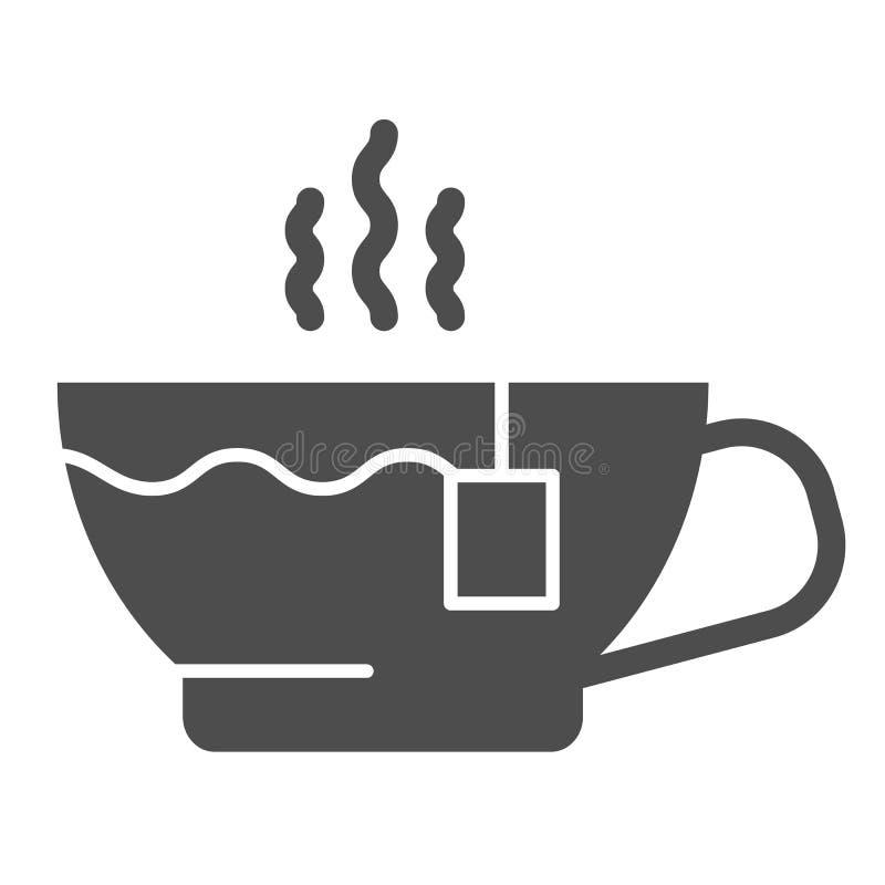 Het stevige pictogram van de theekop Hete thee vectorillustratie die op wit wordt geïsoleerd Het ontwerp van de mok glyph stijl,  royalty-vrije illustratie