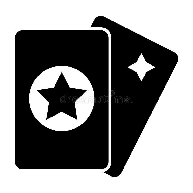 Het stevige pictogram van tarotkaarten Magische vectordieillustratie op wit wordt geïsoleerd Het ontwerp van de astrologie glyph  stock illustratie