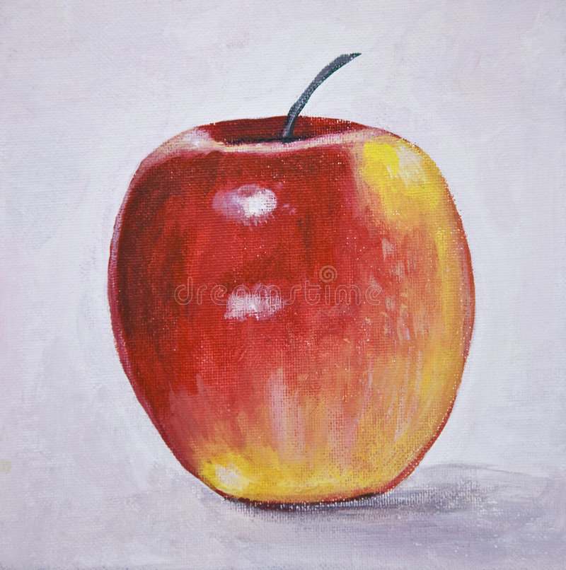 Het stilleven van de appel het schilderen stock illustratie