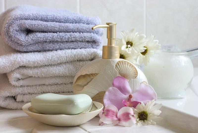 Het stilleven van het bad stock afbeeldingen