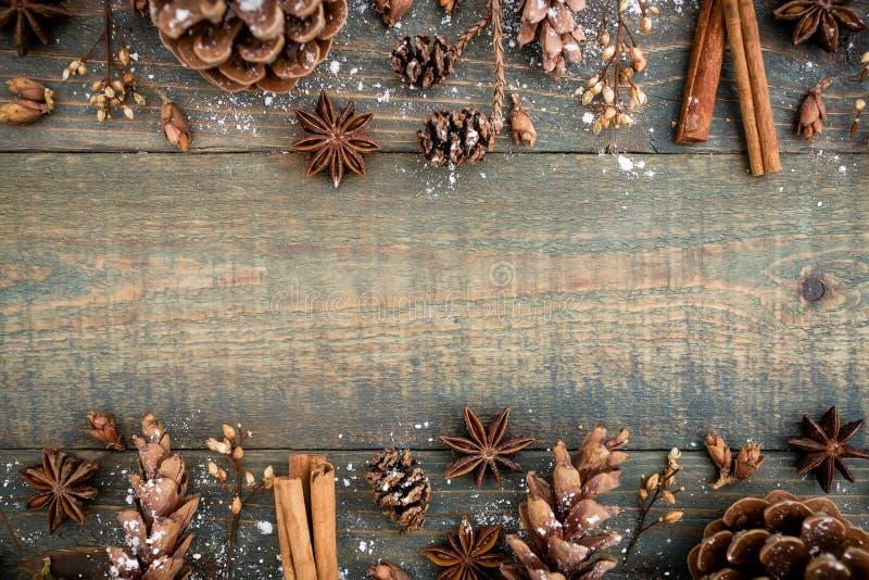 Het Stilleven van Kerstmis Vlak leg Hoogste mening stock afbeeldingen