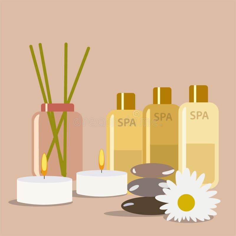 Het stilleven van het kuuroord aromatherapy kaars en roomolieproducten stock illustratie