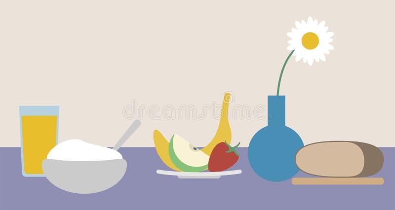 Het stilleven van het ontbijt Gezond voedsel Vector vlakke illustratie stock illustratie