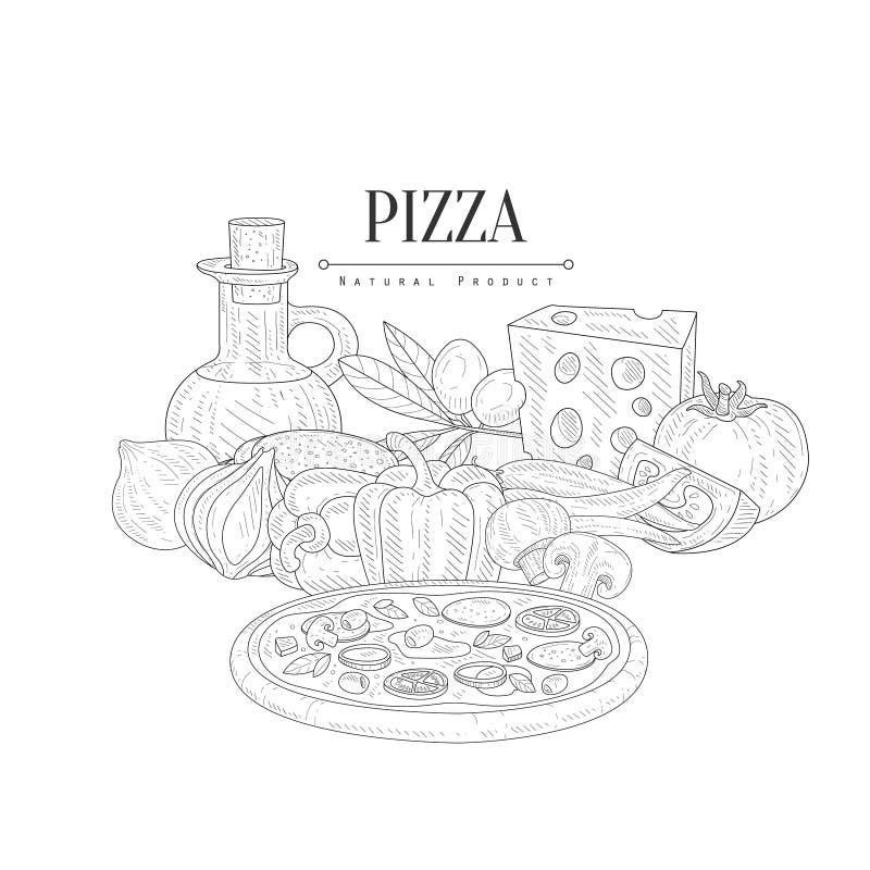Het Stillevenhand Getrokken Realistische Schets van pizza Kokende Ingrediënten royalty-vrije illustratie