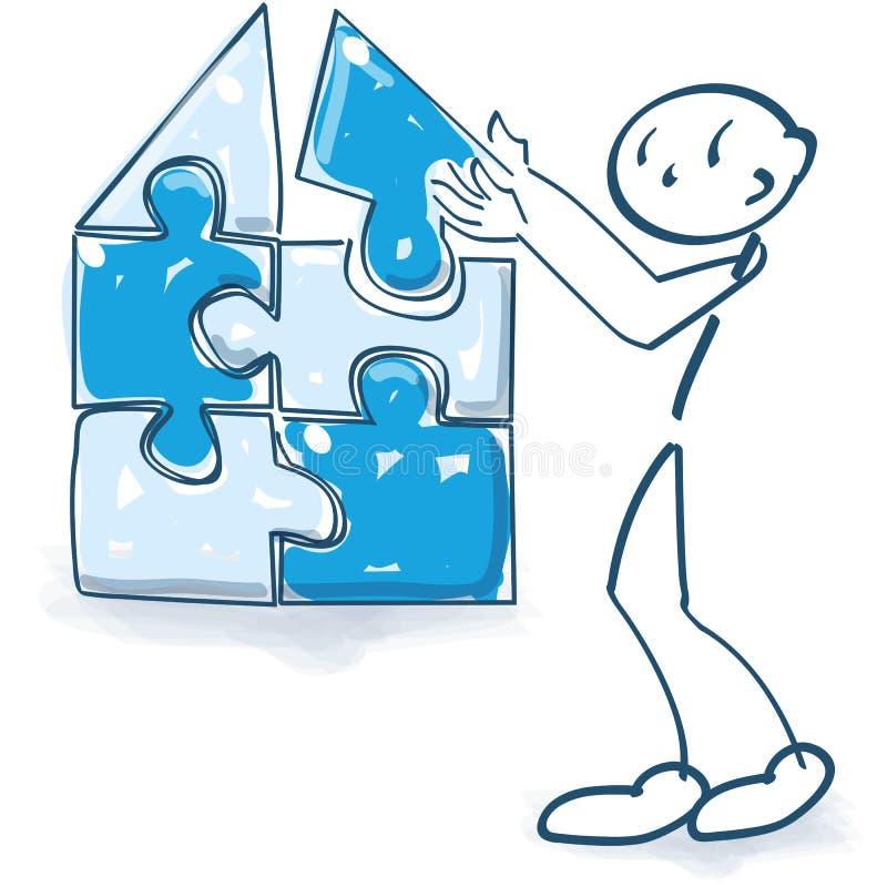 Het stokcijfer bouwt een huis met een raadsel stock illustratie
