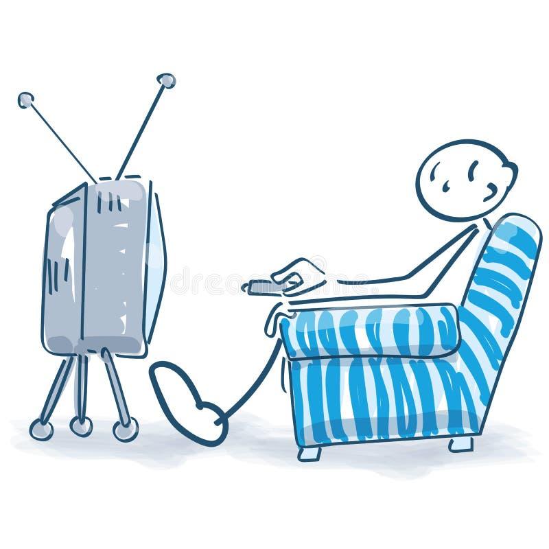 Het stokcijfer let op TV royalty-vrije illustratie