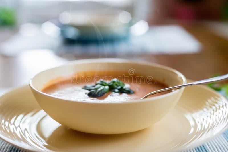 Het stomen van kom de soep van het tomatenbasilicum royalty-vrije stock fotografie