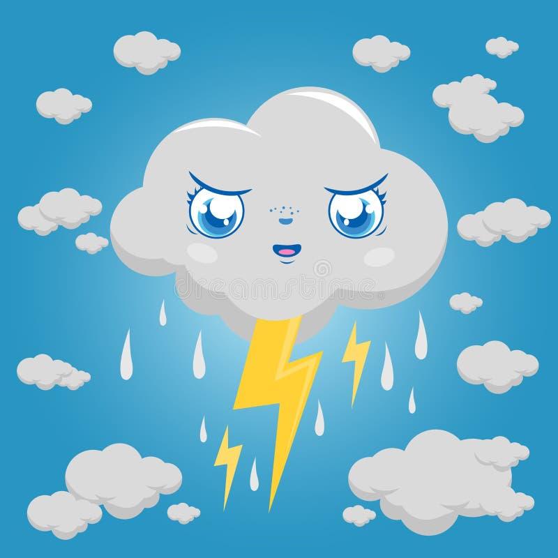 Het stormachtige regenen en de donder van het wolkenkarakter royalty-vrije illustratie