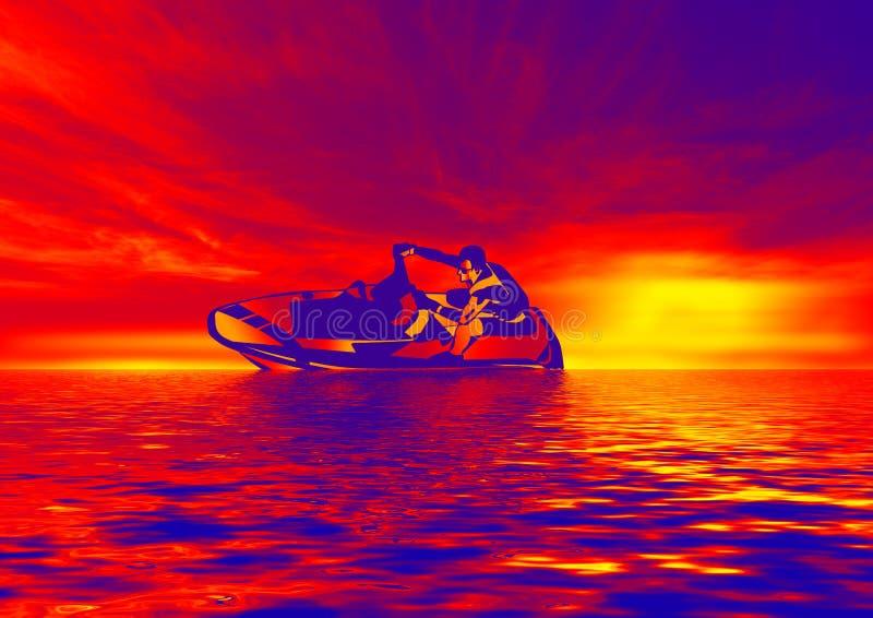 Het straal Skiån in rood stock illustratie