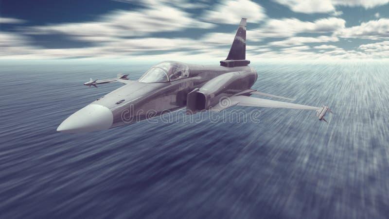 Het straaldievliegtuig van de vechtersoorlog met raketten vliegen wordt bewapend werkelijk laag over het oceaanwater aan een aan  royalty-vrije stock fotografie