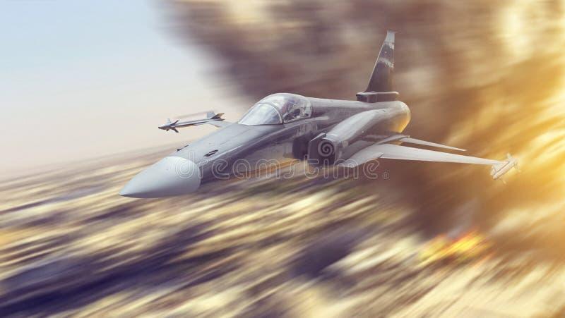 Het straaldievliegtuig van de vechtersoorlog met raketten wordt bewapend die laag over de stadsgrond vliegen op een aan te vallen stock foto's