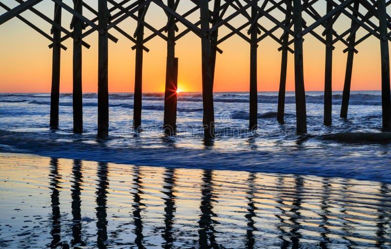 Het Strand Charleston South Carolina van de zonsopgangdwaasheid stock afbeeldingen