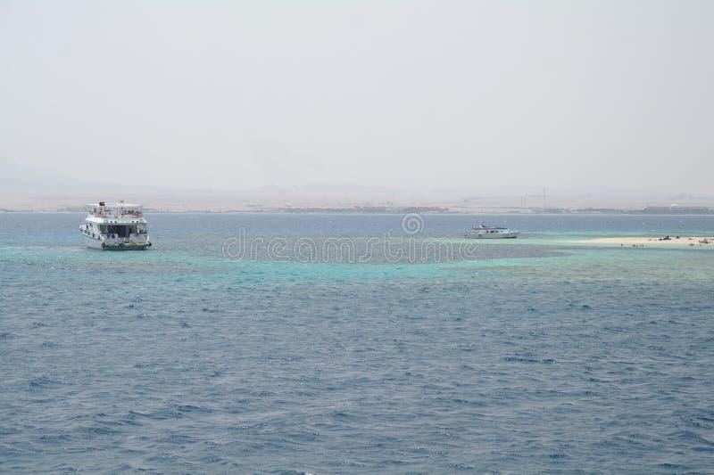 Het strand is een koraaleiland in het Rode overzees royalty-vrije stock afbeelding