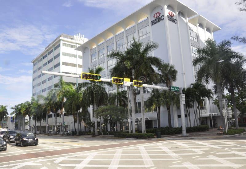 Het Strand FL, 09 van Miami Augustus: De Bank van de binnenstad van het Strand van Miami in Florida de V.S. stock afbeelding