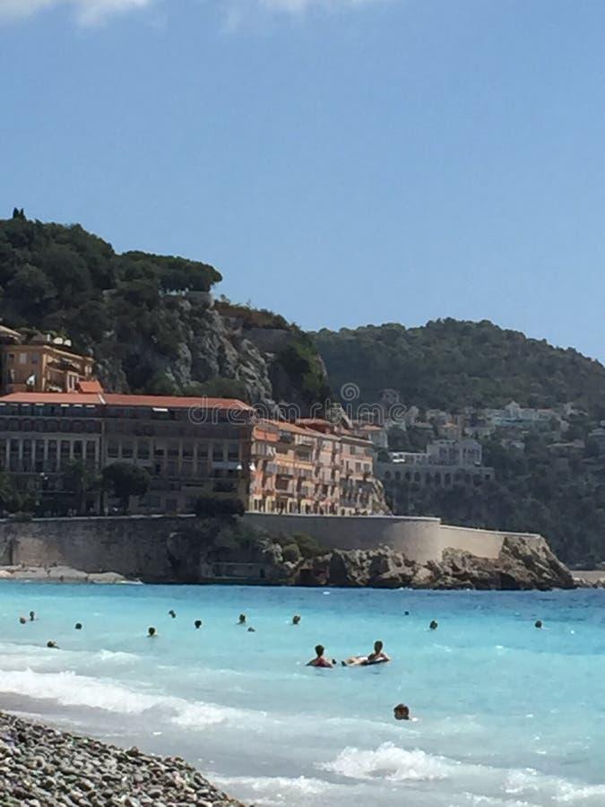 Het strand Frankrijk van Nice royalty-vrije stock afbeelding