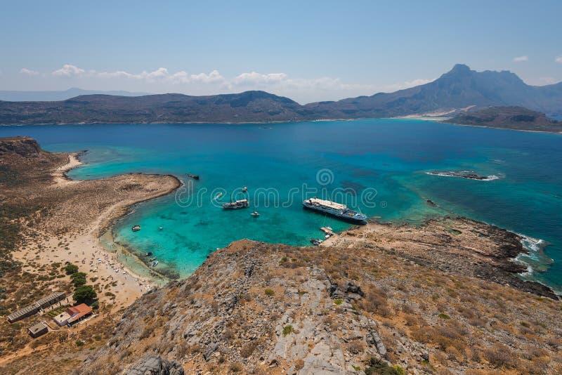 Het strand in Gramvousa-eiland van hierboven royalty-vrije stock foto