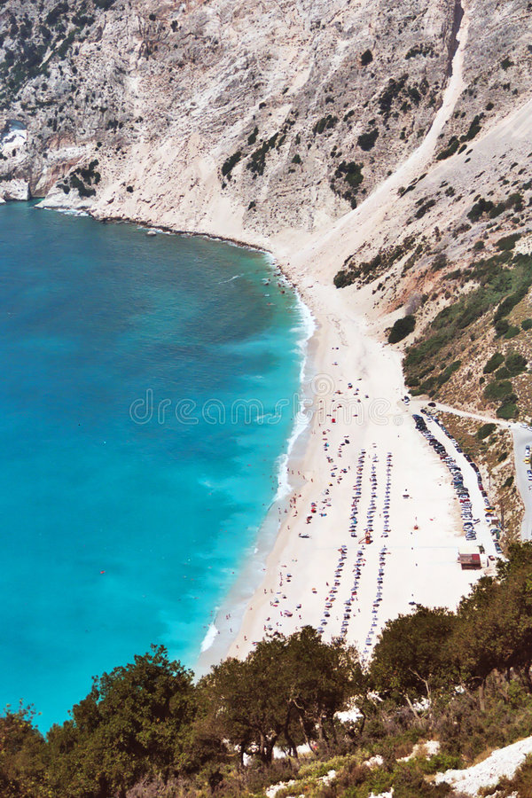 Het Strand Kefalonia van Myrtos royalty-vrije stock foto