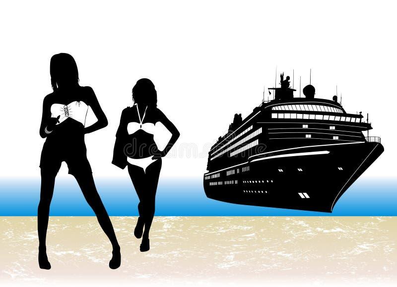 het strand leven royalty-vrije illustratie