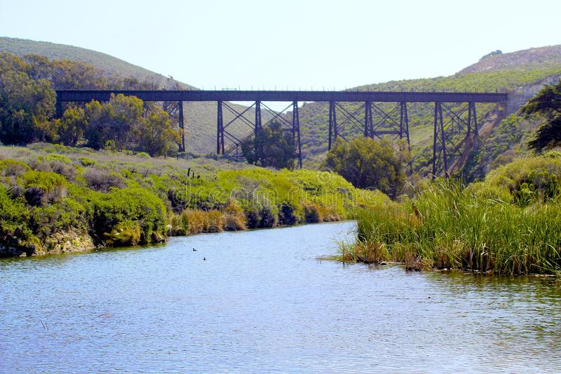 Het Strand Lompoc Californië van Jalama van de treinbrug royalty-vrije stock fotografie