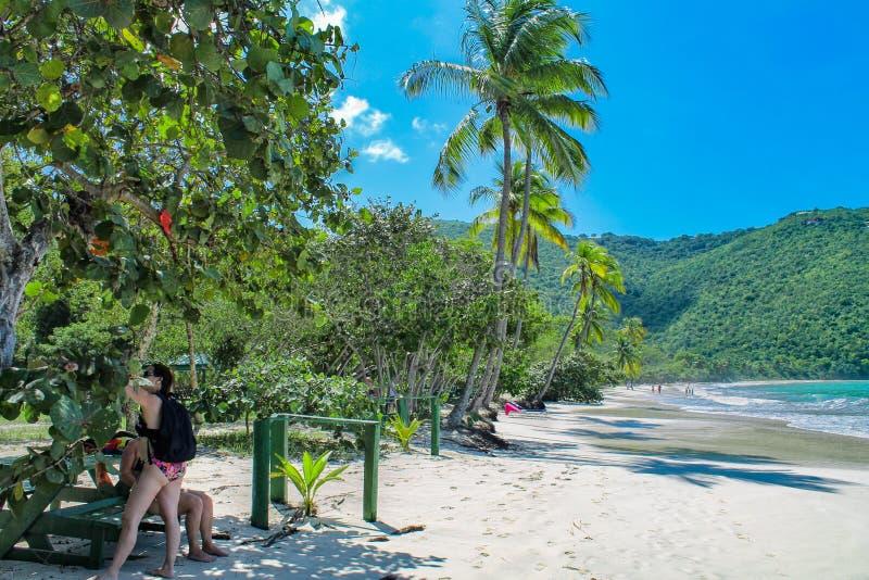 Het strand in Magens-Baai op St Thomas - het Maagdelijke Eiland van de V.S. royalty-vrije stock foto