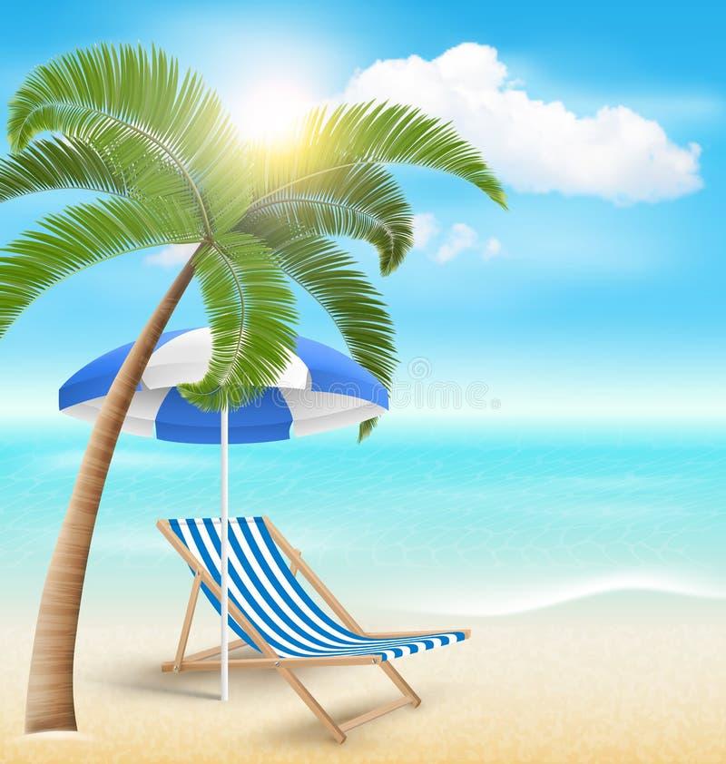 Het strand met Palm betrekt de Paraplu en de Ligstoel van het Zonstrand Summe