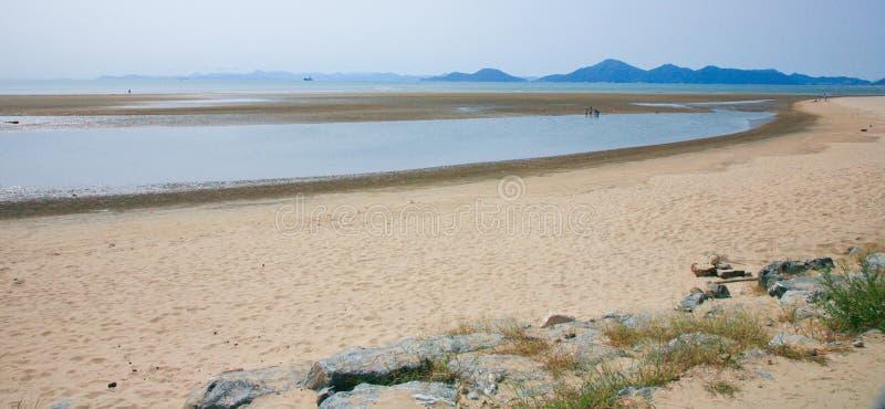 Het strand met schoon zand in Busan Zuid-Korea royalty-vrije stock foto