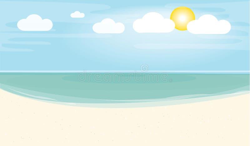 Het strand met zonnige vector stock illustratie