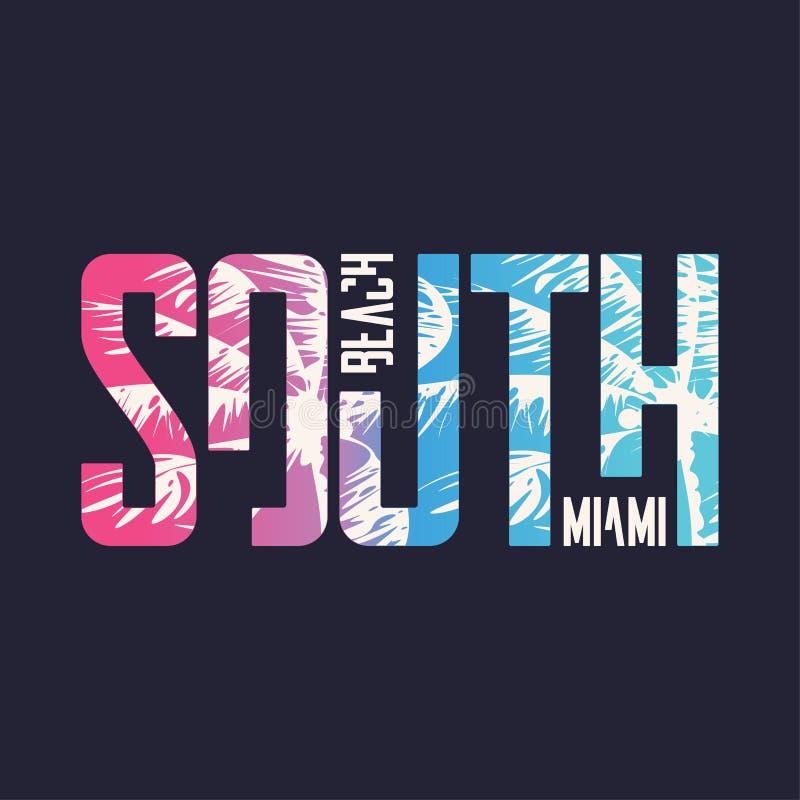 Het strand Miami van het zuiden Grafisch t-shirtontwerp, typografie, druk Vector illustratie stock illustratie