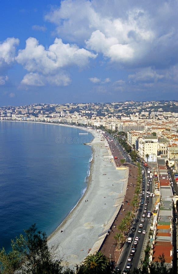 Het strand in Nice, Frankrijk royalty-vrije stock foto