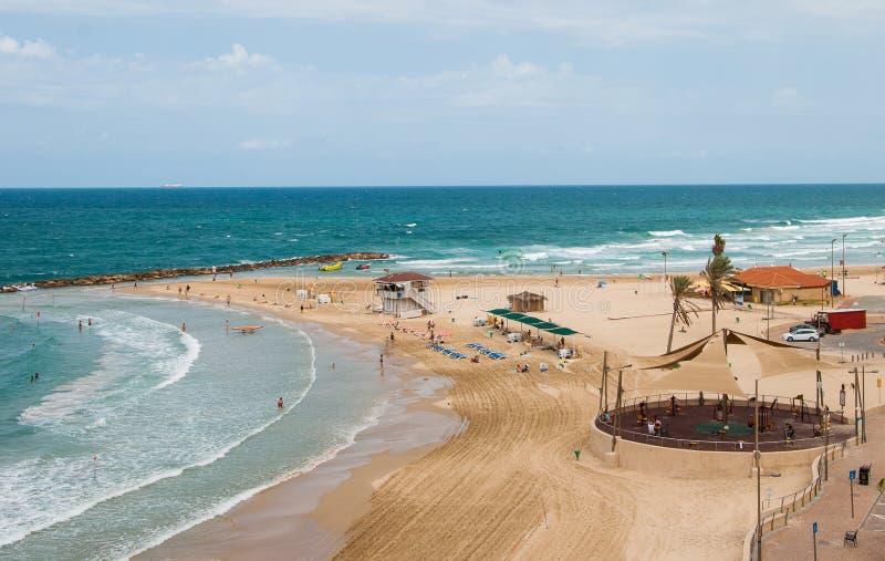 Het strand op de Middellandse Zee stock afbeelding