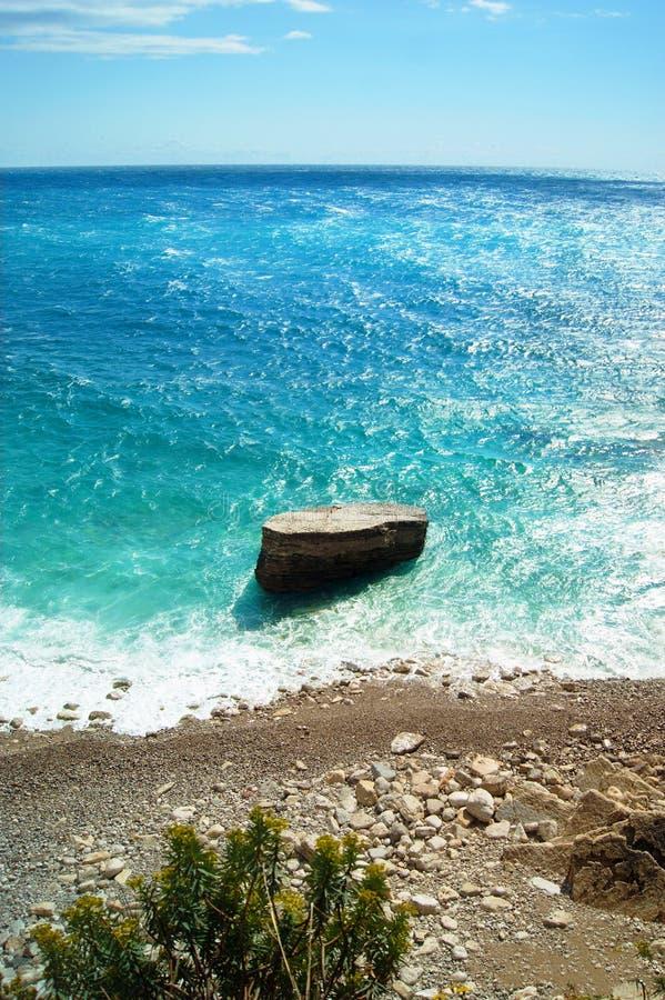 Het strand in Petrovac royalty-vrije stock foto