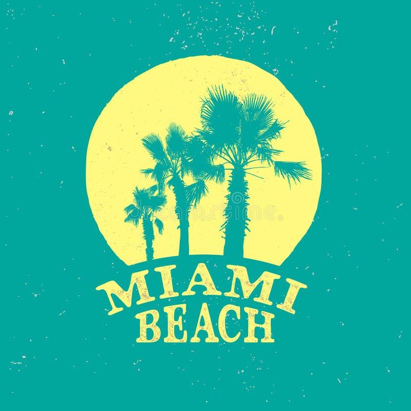 Het strand retro embleem van Miami stock illustratie