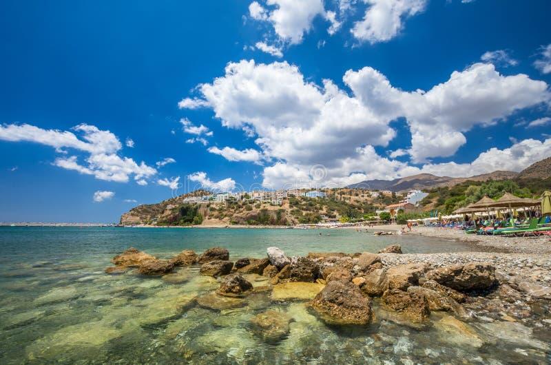 Het Strand van Agiagalini in het eiland van Kreta, Griekenland stock foto's