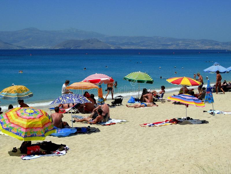 Het Strand van Agiaprokopios, Naxos stock afbeeldingen
