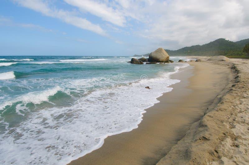 Het Strand van Arrecifes, Tayrona nationaal park, Colombia royalty-vrije stock foto