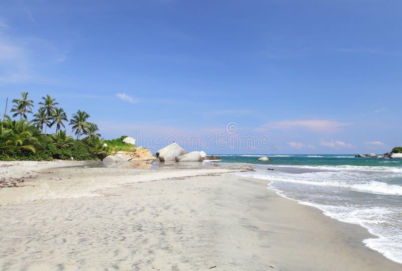 Het Strand van Arrecifes, Tayrona nationaal park, Colombia stock afbeelding
